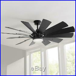Trudeau 60 in. LED Indoor Matte Black Ceiling Fan with Light Kit