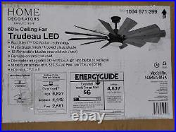Trudeau 60 in. LED Indoor Matte Black Ceiling Fan with Light Kit & Remote Control