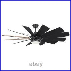 Trudeau 60 in. Led indoor matte black ceiling fan with light kit and remote co