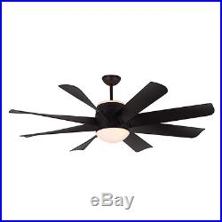Unique 8-Blade 56 Large Contemporary Ceiling Fan + Remote Industrial Light Kit