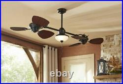 Unique Twin Breeze 74-in Oil-rubbed Bronze Outdoor DownRod Ceiling Fan Light Kit