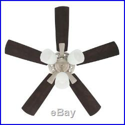 Vaurgas 44 in. LED Brushed Nickel Smart Ceiling Fan with Light Kit & WINK Remote