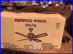 Vintage 90s Moss Marco Polo Ceiling Fan 856X New In Opened Box With Light Kit