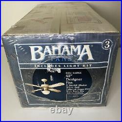 Vintage Bahama 42 Designer Fan White Polished Brass 4 Blades With Light Kit! NEW