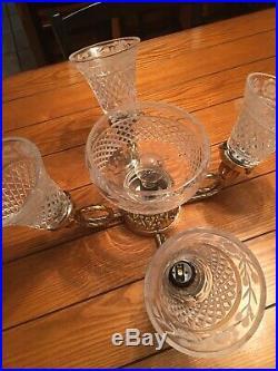 Vintage Casablanca Victorian Ceiling Fan Light Kit 5 Crystal Set