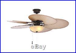 Vintage Ceiling Fan Five Palm Blades Design Bowl Light Kit Home Indoor Decor New