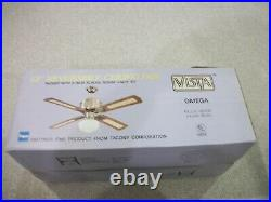 Vintage Tacony Corporation Omega Ceiling Fan 52 with Light Kit New In Box -1989