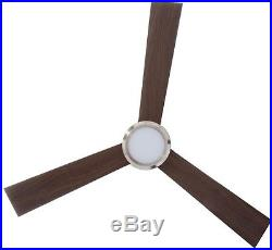 Vision Ceiling Fan with Teak and Light Kit 52 in. Brushed Steel Monte Carlo