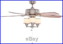 Waterton II 52 in. Indoor Brushed Nickel Downrod Ceiling Fan with Drum Light Kit