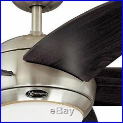 Westinghouse 7255700 Bendan 52-Inch Satin Chrome Indoor Ceiling Fan, Light Kit w