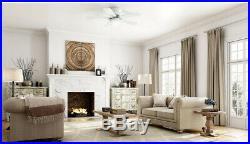 White Ceiling Fan with Light Kit Hugger 52 IN Indoor LED 5 Blades Flush Mount
