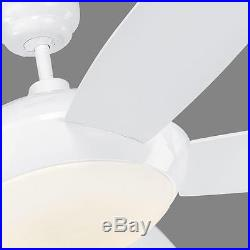 White Sleek 5-Blade 52 Indoor Ceiling Fan With Light Kit and Remote Energy Star