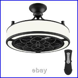 Windara 22 in. LED Indoor/Covered Outdoor Black Ceiling Fan with Light Kit and R