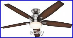Windemere 54-in Brushed Nickel Indoor Downrod Mount Ceiling Fan Light Kit Remote