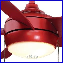 Windward 44 in. LED Indoor RED Ceiling Fan With Light Kit Frosted White Bowl