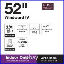 Windward IV 52'' LED Indoor Matte White Ceiling Fan with Light Kit & Remote by HDC