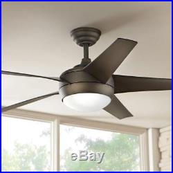 Windward IV 52 in. Indoor Oil Rubbed Bronze Ceiling Fan with Light Kit + Remote
