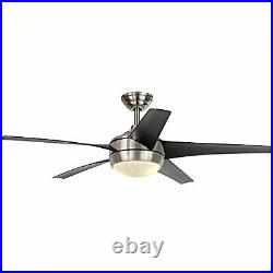 Windward IV 52 in. LED Indoor Brushed Nickel Ceiling Fan with Light Kit and